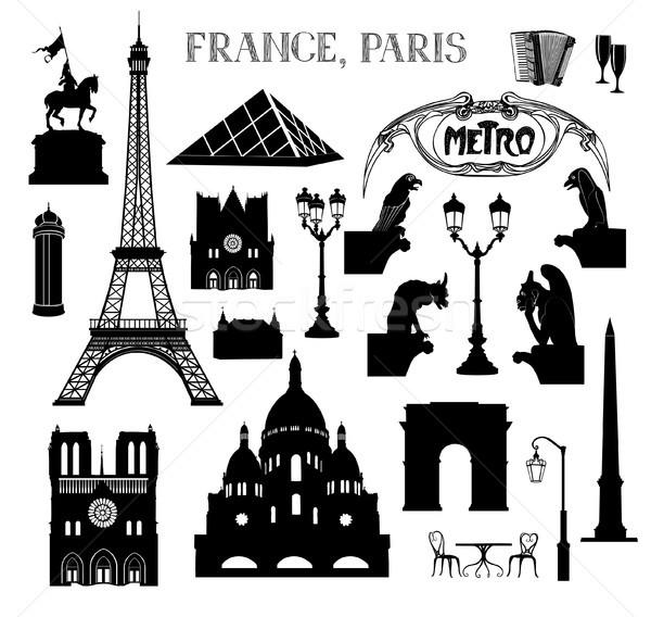 Utazás Párizs ikon gyűjtemény híres Franciaország sziluettek Stock fotó © Terriana