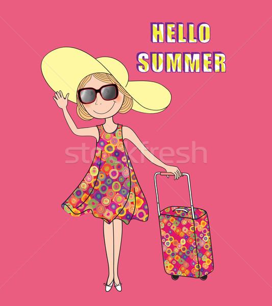 Summer travel background. HELLO SUMMER card, girl, trunk Stock photo © Terriana