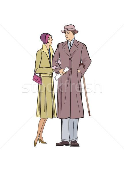 Casal ao ar livre homem mulher vestir Foto stock © Terriana