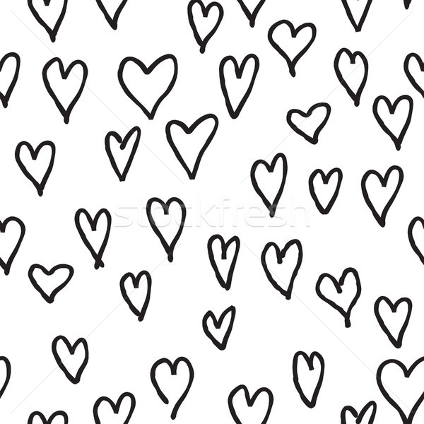 Doodle love hearts seamless pattern. Back and white tile holiday Stock photo © Terriana