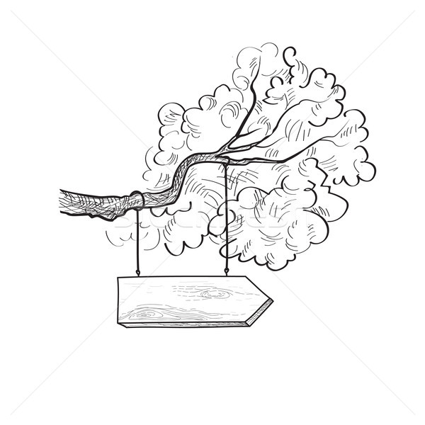 Arrow signpost on the tree branch. Drawn wooden signboard. Info sign Stock photo © Terriana