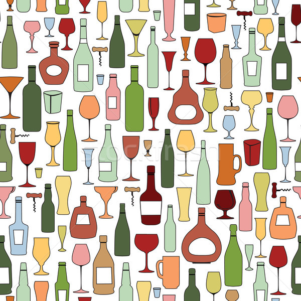 Wine bottle and wine glass seamless pattern. Drink wine background Stock photo © Terriana