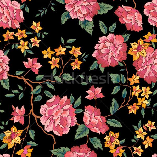цветочный цветок шаблон китайский вышивка Сток-фото © Terriana