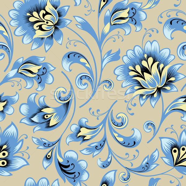 Floral seamless pattern. Flower swirl background. Ornamental brocade retro style Stock photo © Terriana