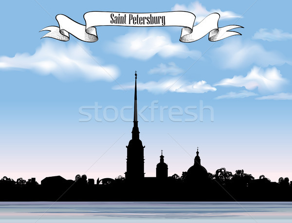 St. Petersburg landmark, Russia. Saint Peter and Paul Cathedral and Fortress, sunrise view from Neva Stock photo © Terriana