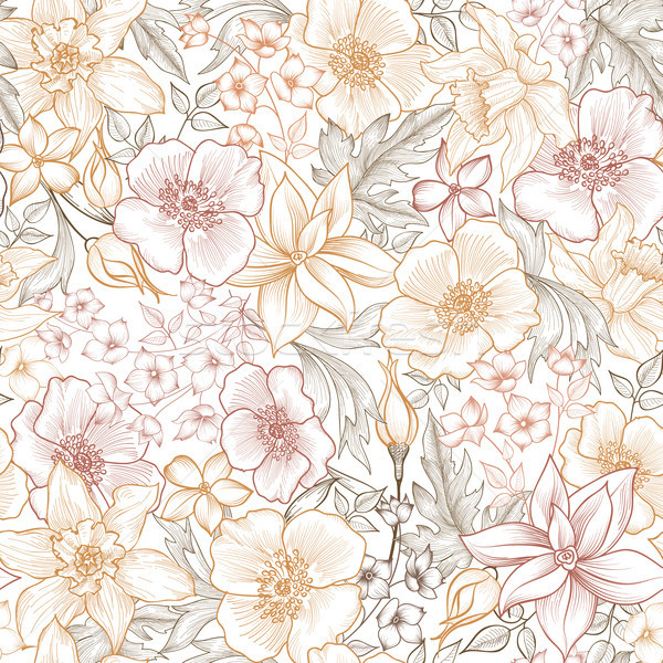 Virágmintás csempe minta virágoskert textúra végtelen minta Stock fotó © Terriana