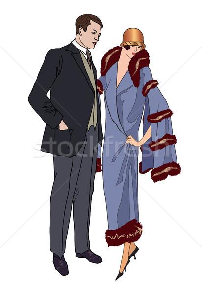 Photo stock: Couple · fête · homme · femme · robe · de · cocktail · vintage