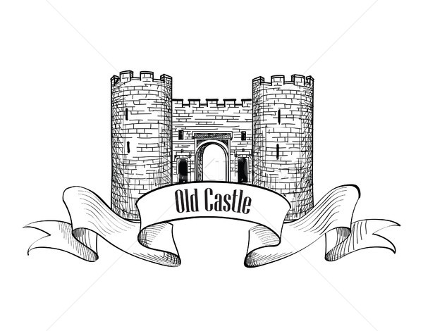 Castle logo. Retro vector label. Stock photo © Terriana