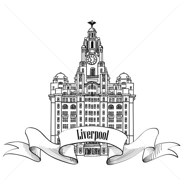Travel England sign. Liverpool Liver Building, UK, Great Britain. Stock photo © Terriana