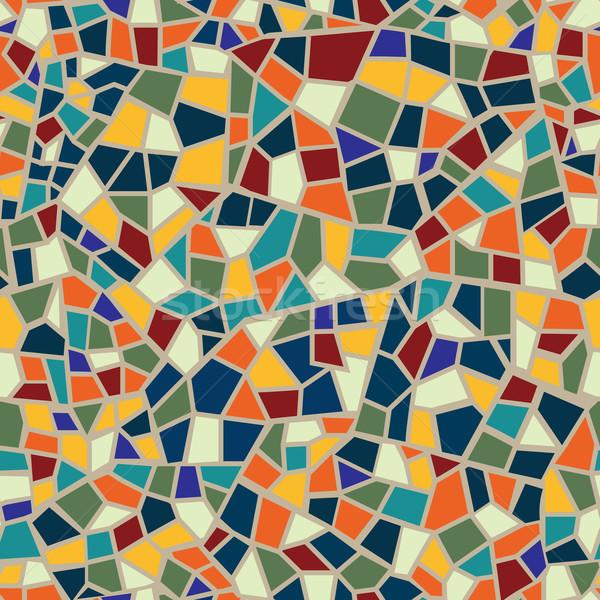 Absztrakt mozaik lap végtelen minta mértani csempe Stock fotó © Terriana