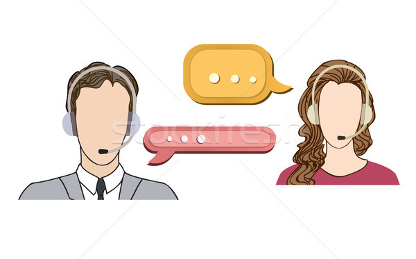 Call center concept. Man and woman in headset icon set Stock photo © Terriana