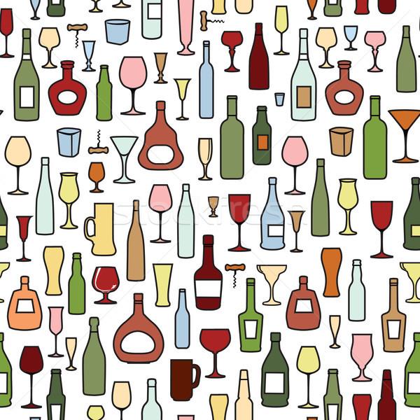 Borosüveg borospohár csempe minta ital bor Stock fotó © Terriana