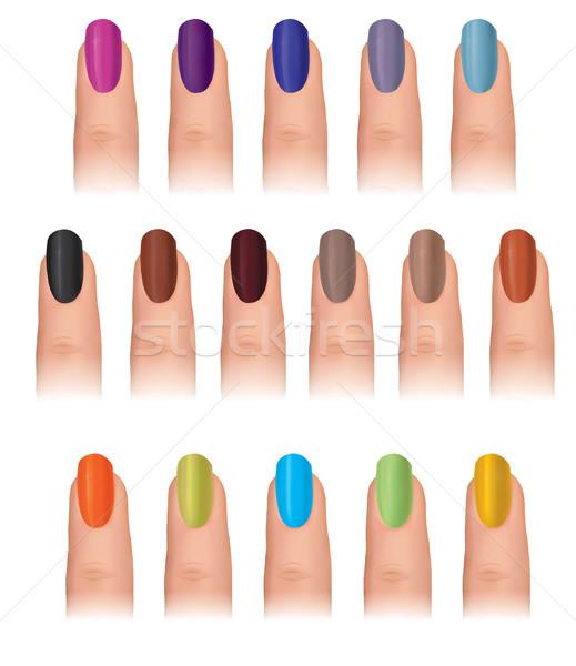 Nyomtatott körömlakk különböző divat színek szög Stock fotó © Terriana