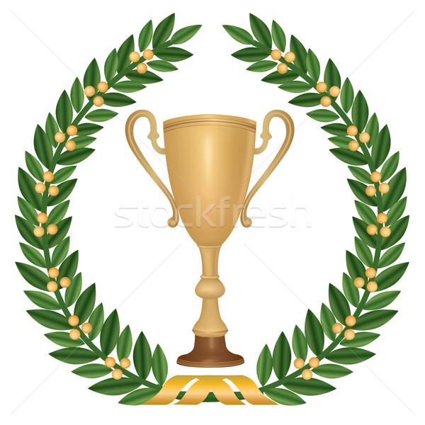 Nyertes csésze trófeák babér koszorú arany Stock fotó © Terriana
