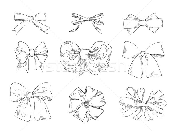 Bow set. Fashion accessory sign. Holiday gifts Stock photo © Terriana
