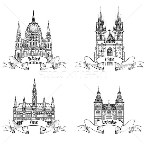 Famous European capital city buildings. Landmarks engraving. Travel Europe symbol set. Prague, Vienn Stock photo © Terriana