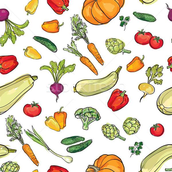 Food ingredient seamless watercolor pattern Vegetable background Stock photo © Terriana