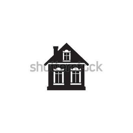 Cabin sign. Village house silhouette isolated Stock photo © Terriana