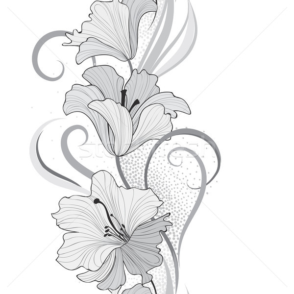 Floral seamless pattern. Flower lily border background. Greeting Stock photo © Terriana