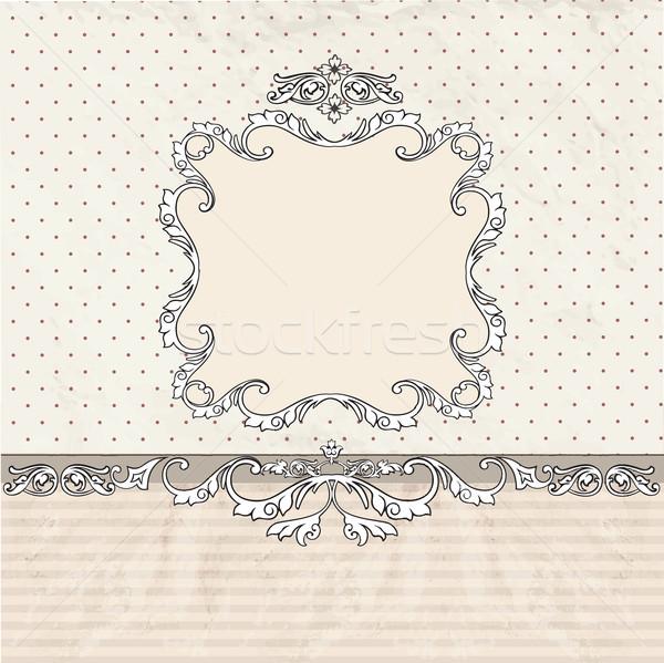 Virágmintás keret klasszikus régi papír textúra poszter Stock fotó © Terriana