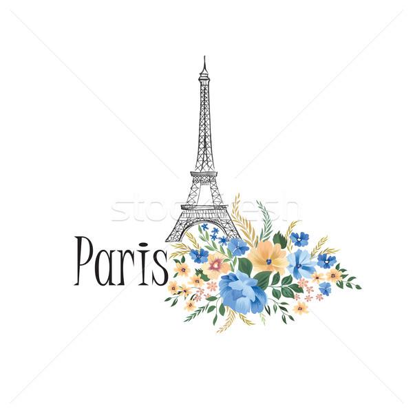 París floral signo flores Eiffel Tower Foto stock © Terriana