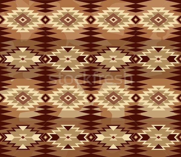 Abstract geometric seamless pattern with aztec ornament. Ethnic cloth ornament Stock photo © Terriana