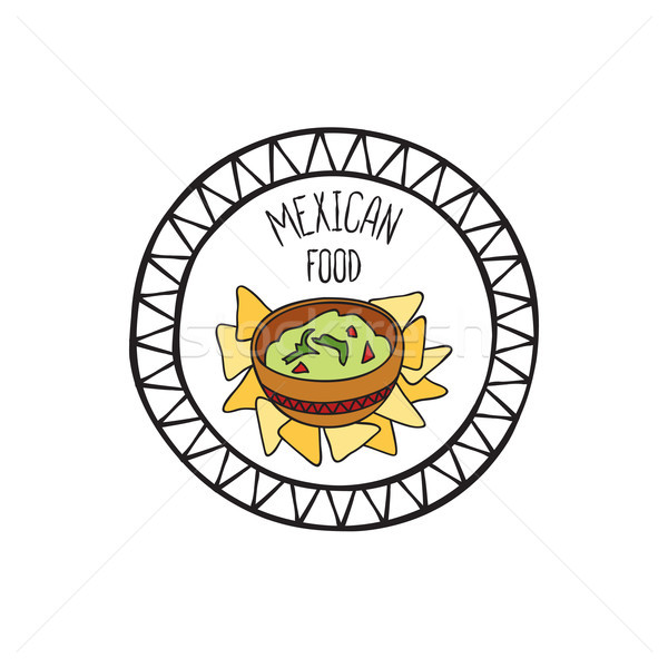 Mexican guacamole food doodle symbol. Round shape sign. Fastfood icon. Stock photo © Terriana