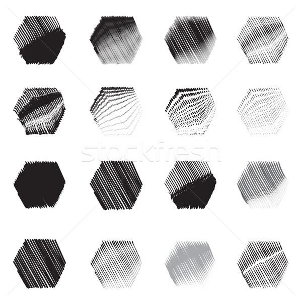 Mértani hatszög formák rajz szett kéz Stock fotó © Terriana