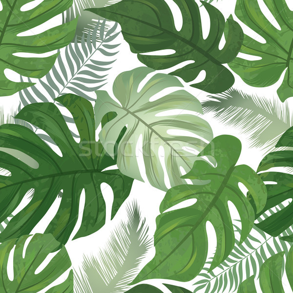 Floral seamless pattern. Tropical leaves background. Palm tree l Stock photo © Terriana