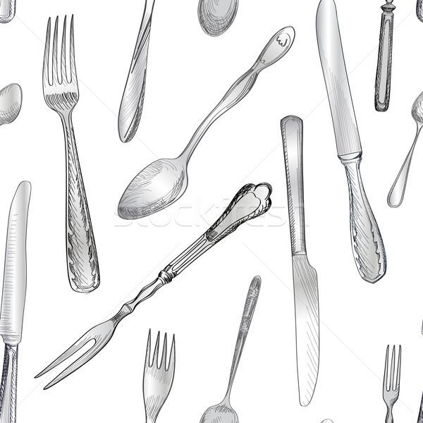 Evőeszköz villa kés kanál kéz rajz Stock fotó © Terriana