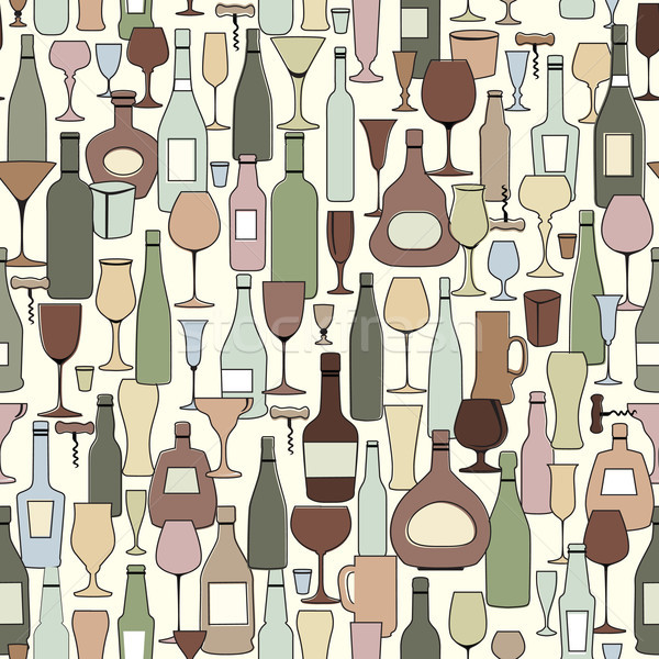 Wine bottle and wine glass seamless pattern. Drink wine bar tile Stock photo © Terriana