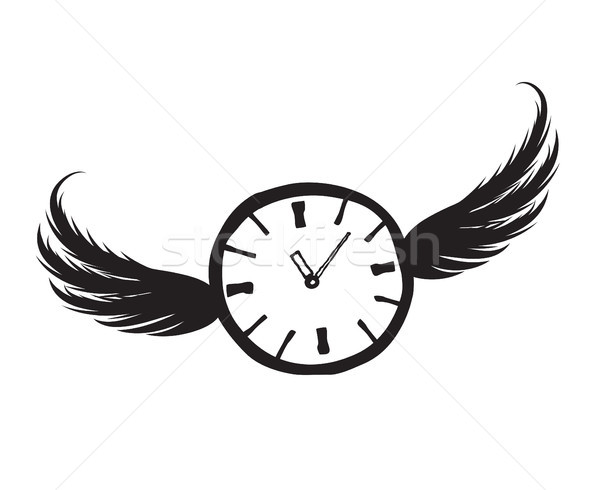 Lost time concept. Doodle watch dial with wings Stock photo © Terriana