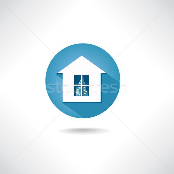 Home icona cerchio blu pulsante costruzione Foto d'archivio © Terriana