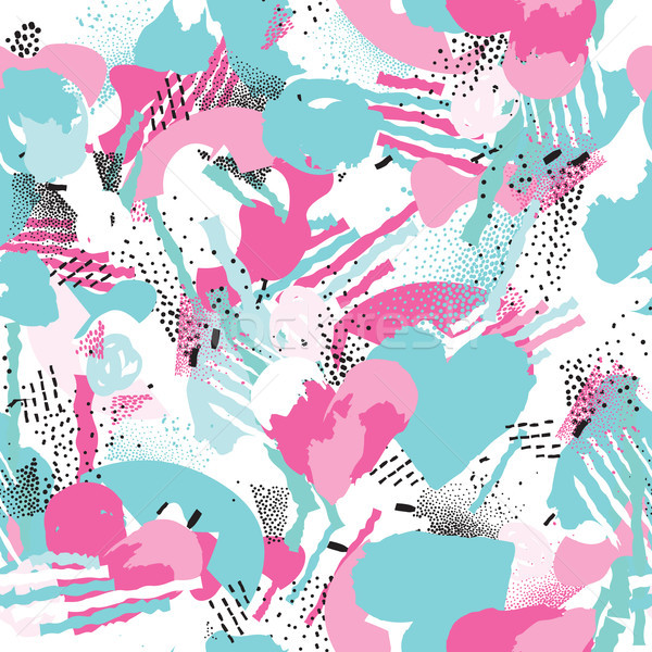 Abstract seamless pattern with chaotic lines and dots. Spotted background Stock photo © Terriana