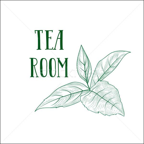 зеленый чай трава Label чай комнату Сток-фото © Terriana