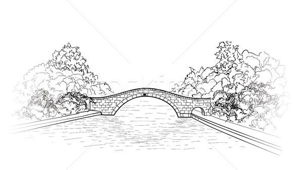 橋 公園 表示 市 庭園 彫刻 ストックフォト © Terriana