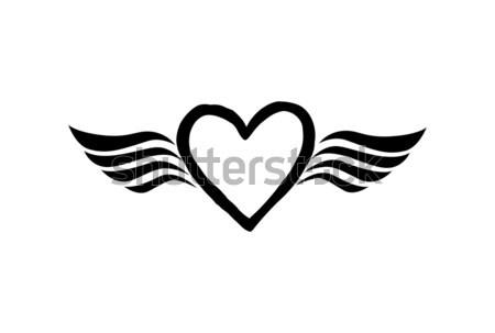Szeretet szív szárnyak Valentin nap nap ikon Stock fotó © Terriana