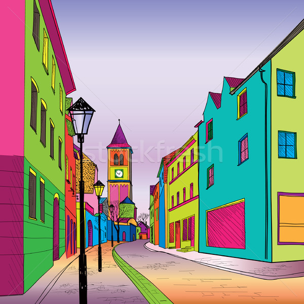 Impresión funky viaje calle ciudad colorido Foto stock © Terriana