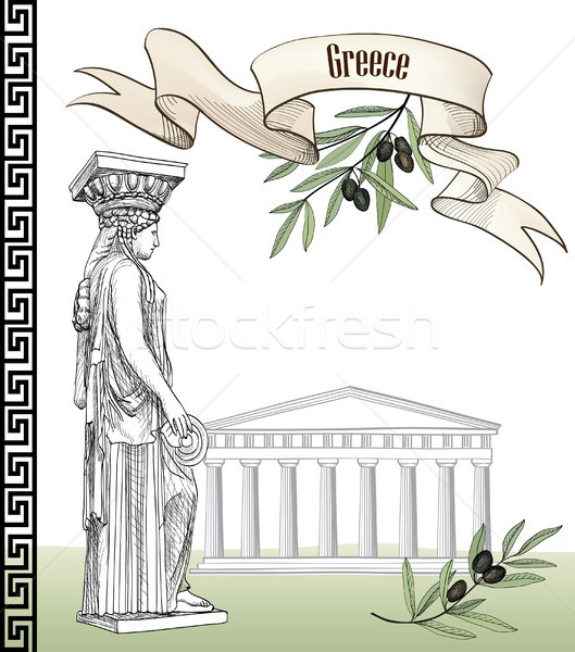Oude Grieks teken ingesteld reizen Griekenland Stockfoto © Terriana
