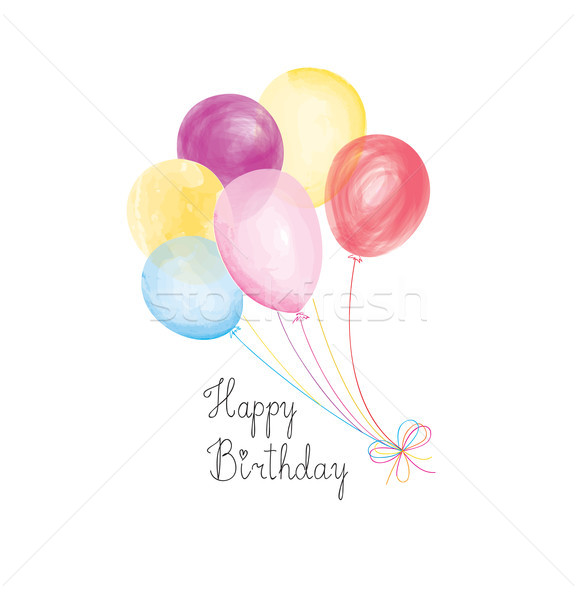 Happy birthday greeting card with balloons. Holiday party Stock photo © Terriana