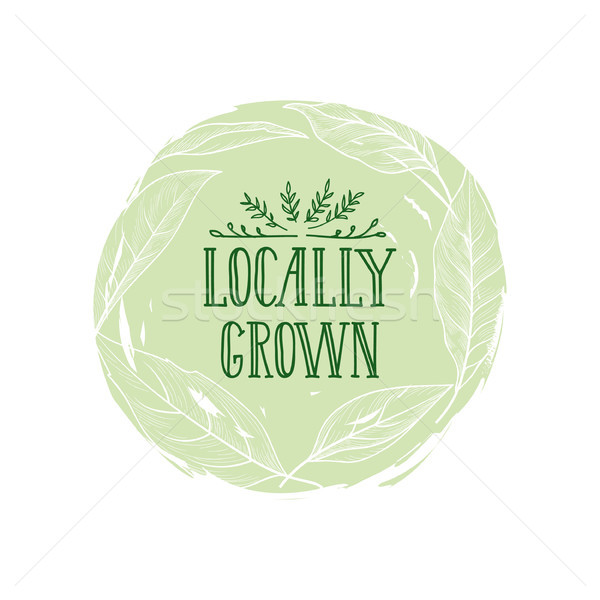 Farm product sign. Locally grown lettering, floral label Stock photo © Terriana