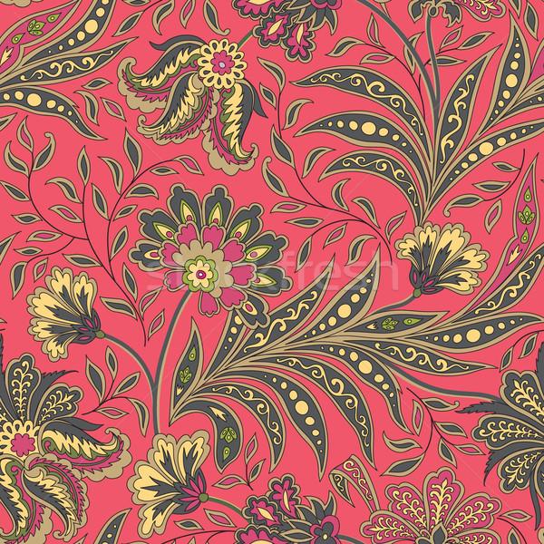 Stock fotó: Virágmintás · végtelen · minta · virágok · levelek · díszítő · hát