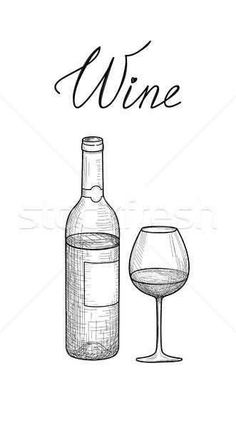 Wine set. Half full wine glass, bottle, lettering. Cafe menu. Wi Stock photo © Terriana