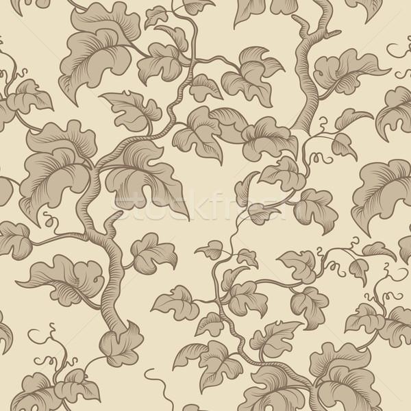 Floral seamless pattern. Garden plant branch, leaves. Flourish e Stock photo © Terriana