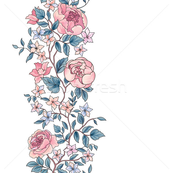 Floral seamless pattern. Flower peony border background. Greeting card Stock photo © Terriana