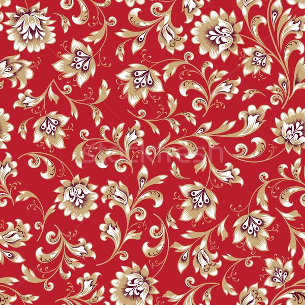 Floral seamless pattern. Flower swirl background. Ornamental brocade retro painting Stock photo © Terriana