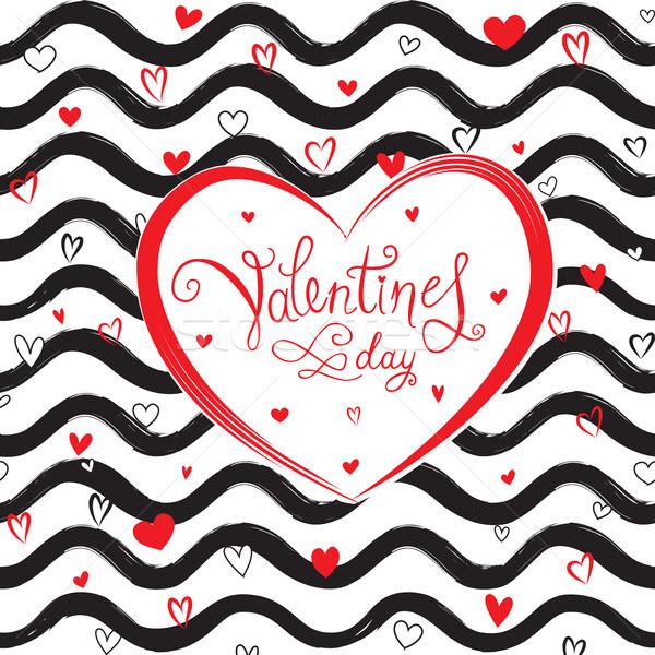 Walentynki kartkę z życzeniami miłości serca wzór fali wakacje Zdjęcia stock © Terriana
