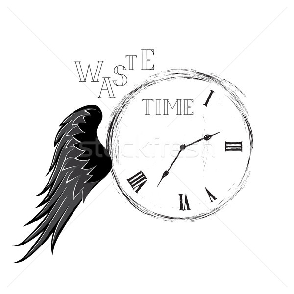 Waste time concept. Doodle retro watch dial with handwritten let Stock photo © Terriana