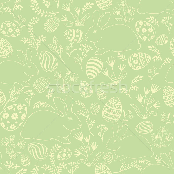 Easter egg, bunny seamless pattern. Floral holiday background. Stock photo © Terriana