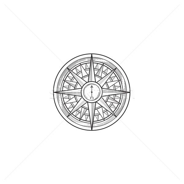 Compass wind rose drawn design element. Black line sketch sign i Stock photo © Terriana